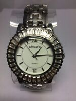CHICO's Women's Watch Silver Tone Round Face Gorgeous Crystal Bezel New Battery