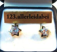 Tolle Stern Ohrstecker 375 er Gold Zirkonia Ohrschmuck Ohrringe / AX 724