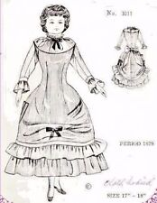 """17-18""""ANTIQUE CHINA HEAD/PARIAN FASHION YOUNG LADY DOLL@1879 DRESS PATTERN"""