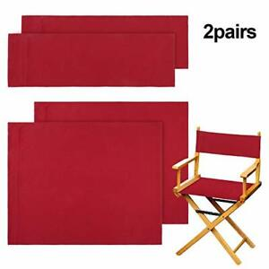 2 Set Casual Directors Chair Cover Kit Seat and Back Cotton Medium Size (Red)