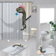 Funny Dinosaur Print Shower Curtain Bath Mat Toilet Cover Rug Bathroom Decor