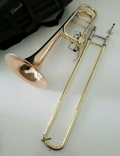 More details for edwards bass trombone b454-de in original leather case - complete edwards outfit