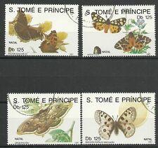 SCHMETTERLINGE-Weihnachten 1991/ S.Tome+Principe MiNr 1296/99 o