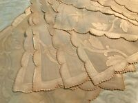 Lovely Vintage Madeira Hand Embroidered Runner + 8 Placemats Pink Scallop Edge