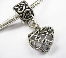 Antique Silver Aunt Aunty Heart Charm Bead On Bail Fits European Bracelets
