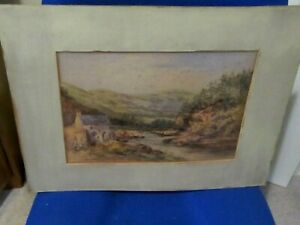 Vintage Watercolour The Coquet River Northumberland /Thrum Water Mill by G.Perry