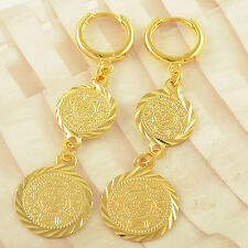 Arab Fashion No allergy 9k Gold Filled Womens Round Dangle Earrings,F2246