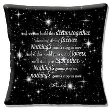 "Starship NOTHING'S GONNA STOP US NOW Song CHORUS Black 16"" Pillow Cushion Cover"