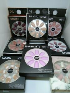 Primark/PS False Fashion Nails With Glue -Pointed,Squareletto,Matte,Gloss-Choose