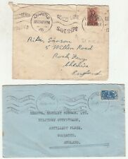 South Africa: 2 WW2 Airmail Covers, slogans; Cape Town/Kimberley - UK, 1942,1944