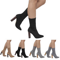 NEW LADIES WOMENS HIGH BLOCK HEEL KNITTED STRETCH CELEB ANKLE BOOTS SHOES S-3-8