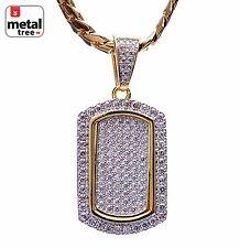 Men's 14K Gold Plated Mini Dog Tag Pendant Miami Cuban Chain Necklace BCH 1087