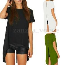 Zanzea Women Summer Chiffon Split Short Sleeve Irregular Hem Tops T-shirt Blouse