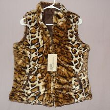 NWT Leopard Print Vest Sleeveless Size Large ZLC Collections Reversible Brown