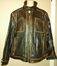MARC NEW YORK ANDREW MARC 100% CUIR LEATHER MEN'S JACKET BROWN – SIZE XL