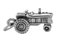 Tractor Charm Sterling Silver Pendant 3d Farm Equipment Farmer