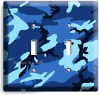 BLUE NAVY MILITARY CAMO CAMOUFLAGE DOUBLE LIGHT SWITCH WALL PLATE MAN CAVE DECOR