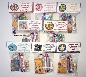 70 Personalised Sweet Bag WRAPPERS Birthday Party Favours 16th 18th 21st 30th