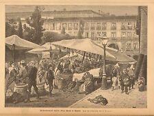 Madrid Spain, Plaza Manor, Farmer's Market Vintage 1883 German Antique Art Print