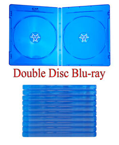 10 Blu-ray Cases - Standard Blue - Double 2-Disc with Logo & Sleeve Insert