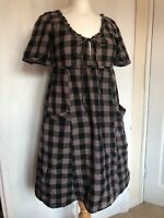 Topshop Size 10 Purple Checked Gypsy Smock Pockets Lagenlook Cotton Tunic Dress