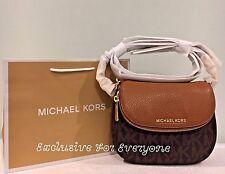 NWT Michael Kors Bedford PVC Flap Grossbody Bag Brown/Acorn $198