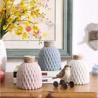 1 or 2 Ceramic Decorative Vase Bottle Shaped Embossed Flower Arrange Display NEW