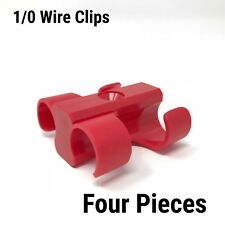 4 Dual Cable Clip screw down Clamp 1/0 GA RED Power Ground Wire Manage clipit