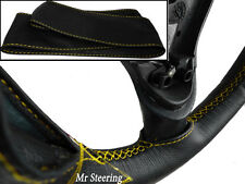 FOR KIA SPORTAGE MK2 04-10 REAL BLACK LEATHER STEERING WHEEL COVER YELLOW STITCH