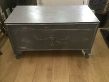grey shabby chic storage Trunk Chest Solid Wood, embellished Queen Anne legs