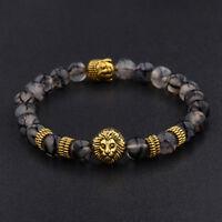 Hommes Black Lava Stone Lion D'Or Bouddha Chakra Perles Charm Bracelet FE