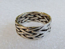 925 Sterling Silver Celtic wiaved braided Band Ring Size 8.75 8mm