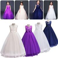Girls Dress Princess Formal Birthday Party Holiday Wedding Bridesmaid Dress H4