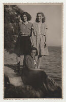 Three Pretty Young Women Closeness Cute Lady Girl Female 1950s Vintage Old Photo