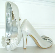 SIZE 3 4 5 6 7 8 WHITE IVORY SILVER SHIMMER DIAMANTE BRIDAL OCCASION SHOES NEW