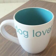 NEW Coffee Mug Tea Cup DOG LOVER with BLUE Interior & Lettering White Stoneware