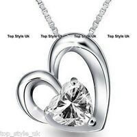 925 Sterling Silver Twin Love Heart Pendant Necklace Gift for Her Wife Daughter