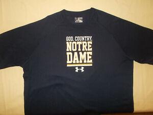 UNDER ARMOUR NCAA NOTRE DAME SHORT SLEEVE NAVY BLUE T-SHIRT MENS 2XL EXCELLENT