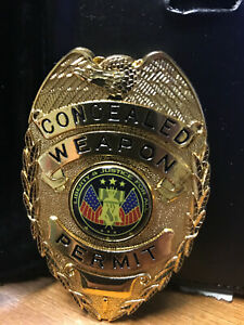 Gold Concealed Weapon Permit Badge With Clip on Belt Holder