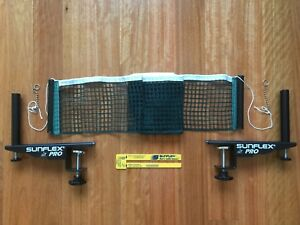 SUNFLEX PRO Competition G-Screw Clamp Table Tennis Net & and Post Set w/ Ruler