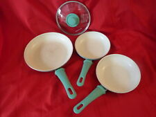 GREENLIFE 3 pc Ceramic Non-Stick Fry Pans Turquoise Soft Grip Kitchen Used G7