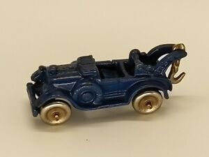 Vintage Hubley Blue Cast Iron Toy Service Car Wrecker Tow Truck
