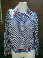 True Vtg. '60's/'70& #039;s hippie Mod polka dot blouse/top/jacket s/m red/white/blue