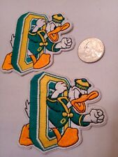 """2) UNIVERSITY OF Oregon DUCKS  Vintage Embroidered Iron On Patches patch lot 3"""""""