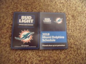 2018 Miami Dolphins (NFL) Bud Light Beer cover football pocket schedule