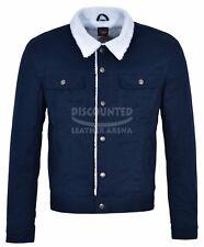 New Men's Trucker Classic Biker Fashion Blue Fabric Fur Lining Jacket Size XL