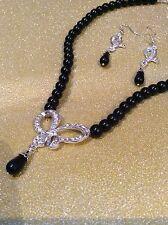 Perla negra mariposa collar y pendiente Diamonte/Diamante Set Nuevo y Sellado