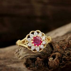 1Ct Round Cut Pink Sapphire & Diamond Halo Engagement Ring 14K Yellow Gold Over.