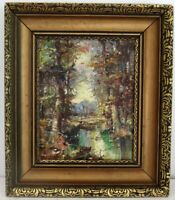 """LISTED  NICOLA BLAZEV 1913-1974  BULGARIA """" FOREST SCENE"""" OIL PAINTING ON CANVAS"""