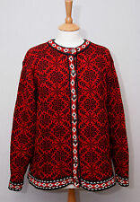 LL Bean womens Nordic style heavy warm red cotton button cardigan XL